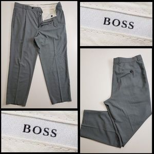 hugo boss men's pleated dress pants size 36 gray